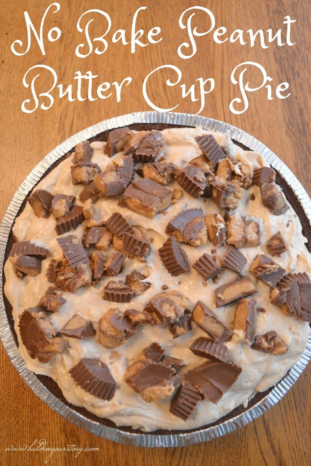 No Bake Peanut Butter Cup Pie #easypierecipes
