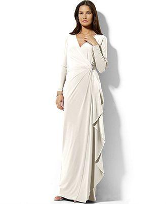 5. Lauren Ralph Lauren Long-Sleeve Draped Brooch Dress - Wedding ...