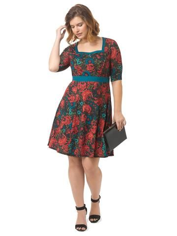 Plus Size ISABEL + ALICE Floral Printed Fit & Flare Dress