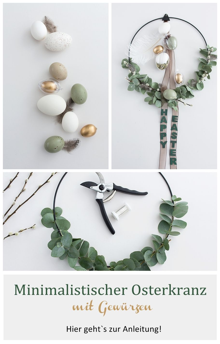 Photo of Minimalist Easter wreath with eucalyptus and spices