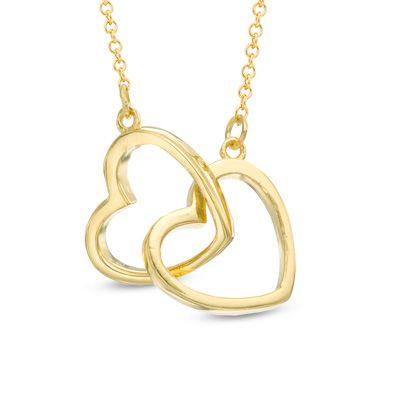 Zales Interlocking Hearts Necklace in Sterling Silver - 16 6ICkB