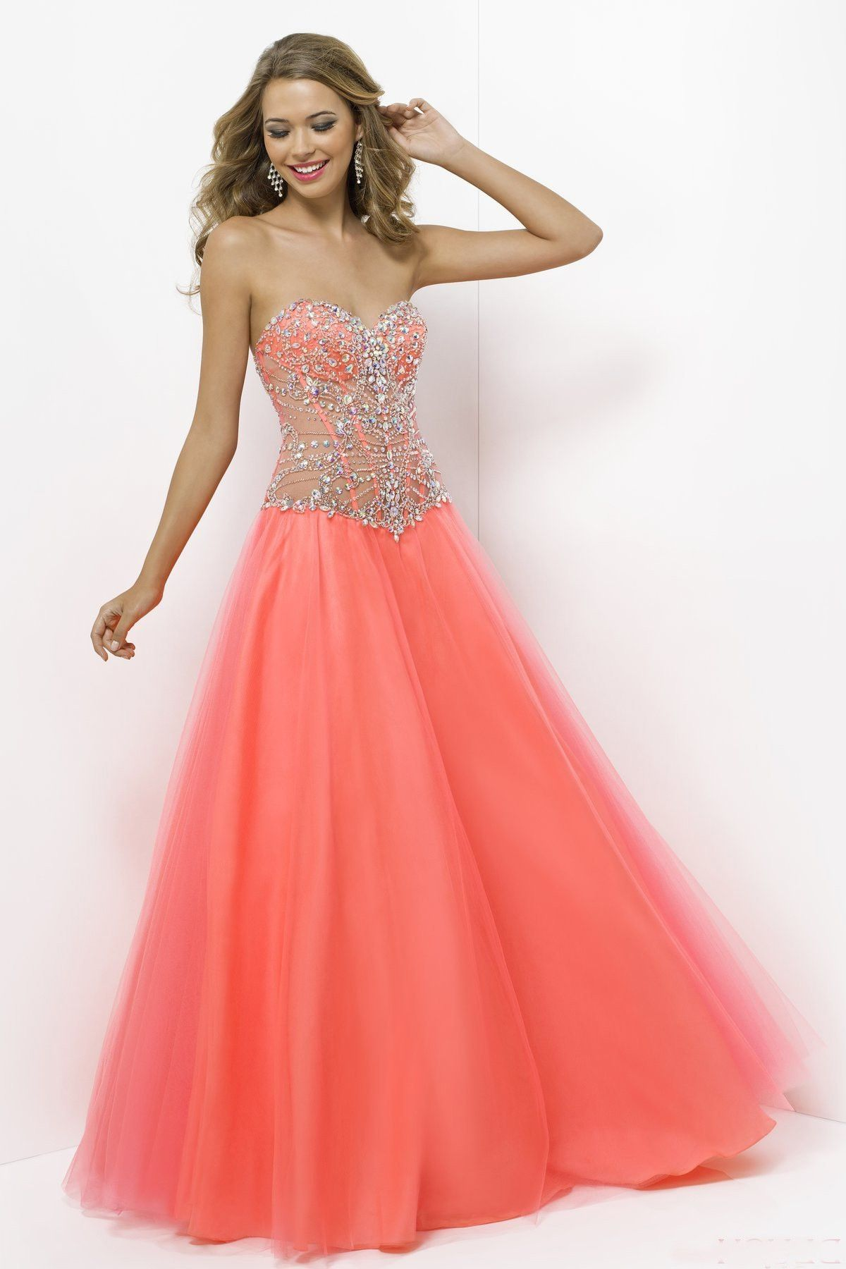 Charming tulle beaded sweetheart floorlength prom dress with