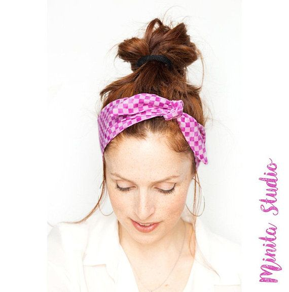 2175ec90790 Purple and Pink Headband Checks Hairband Purple Women Hair Accessories  Purple Tie On Headband Cute Hairband Purple Hairscarf Pink Headband