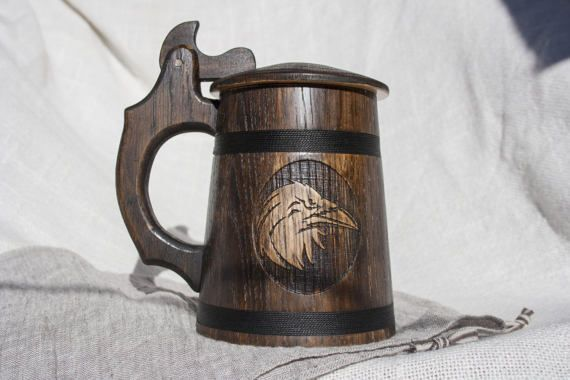 Wooden beer mug 20oz Handmade tankard Best gift for him Man stein Husband gift