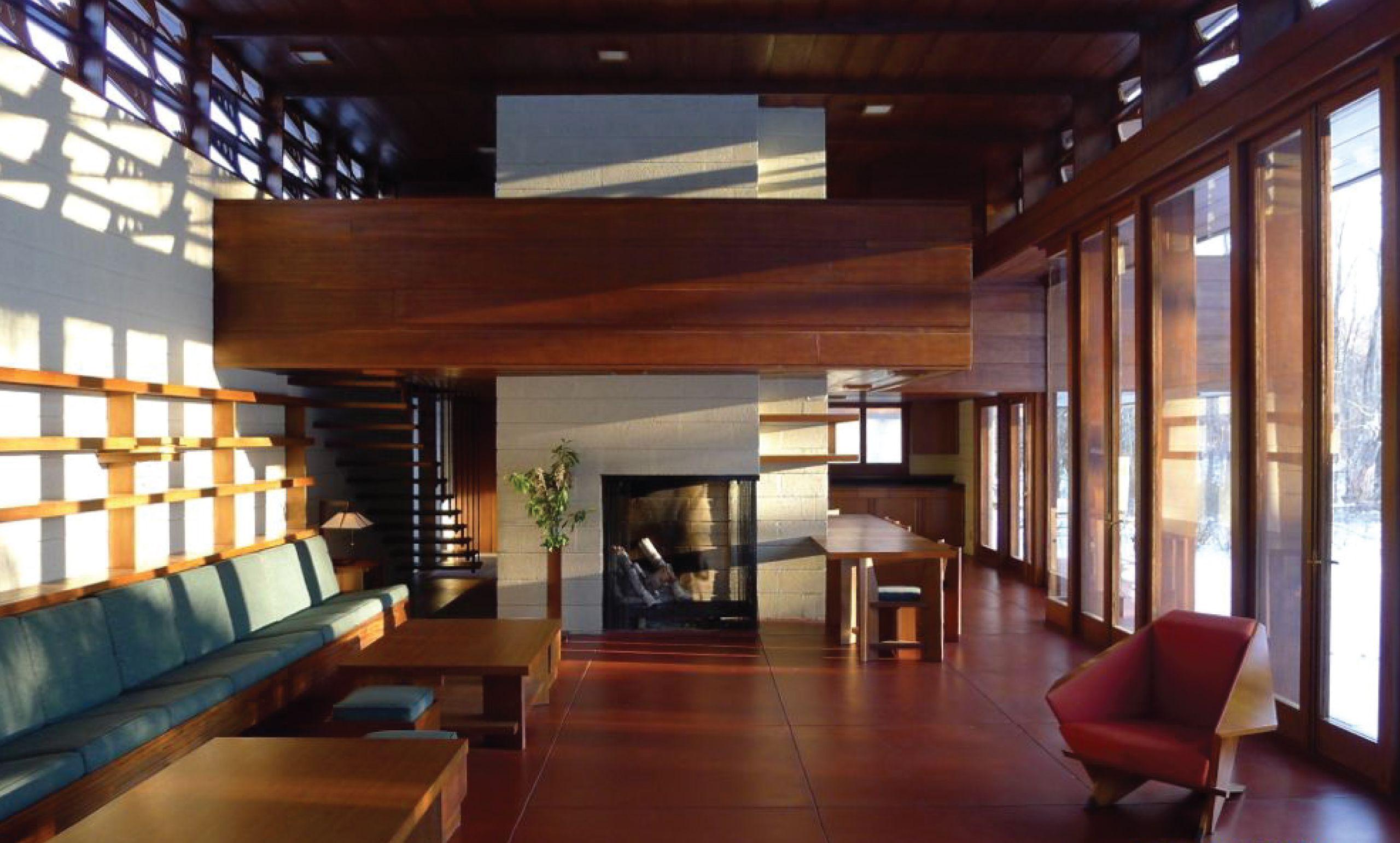 Frank lloyd wright bachman wilson house 1954 for Frank lloyd wright interior designs