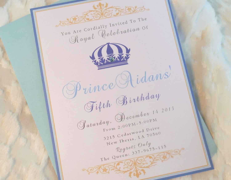 Royal Blue Prince Birthday Boy Invitations set of 16 by mimsysnest ...
