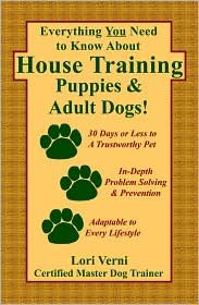 """Everything You Need to Know About House Training Puppies & Adult Dogs,"" with 4.5 star reviews on B."