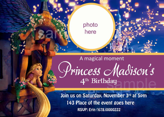 Rapunzel Invitation birthday Tangled Invitation Digital print it