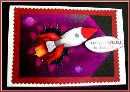 "Rocket Ripped Birthday on Craftsuprint designed by Vicki Avcin - made by Rae Trees - I printed the design on good quality matte photo paper and attached the base to a red card stock and then on to a white card. I decoupaged the elements with silicone glue and added my sentiment between two black elements. The light has caught the greeting which reads ""Hope your Birthday is a Blast"" great design for that male person. - Now available for download!"