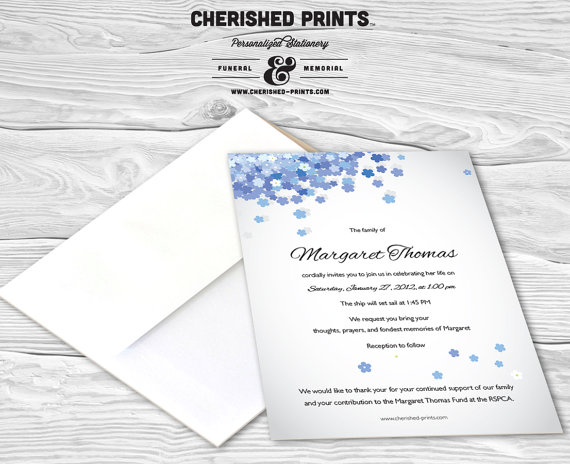 Forget-Me-Not Mourning Card, Invitation, Memorial Service - invitation for funeral ceremony