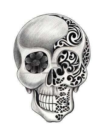 Tatouage tete de mort tatouage de cr ne dessin la main sur papier banque d no l f tes et - Dessin de la main ...