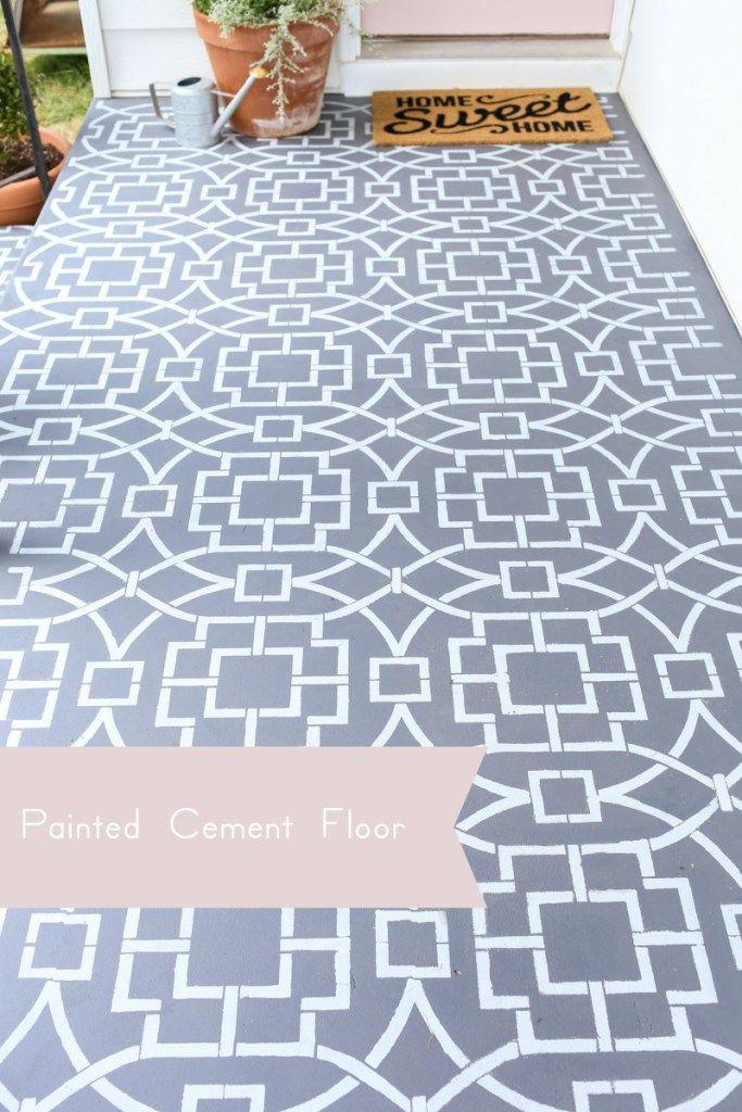 Painted cement floor using a stencil to create a cement tile look - peindre du ciment au sol