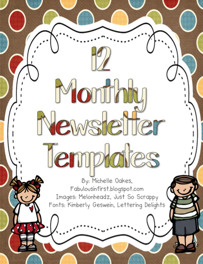 free 12 monthly newsletter templates favorite teaching products