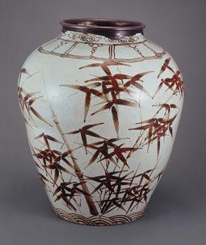 Jar, Joseon dynasty (1392–1910), 16th century Korea Porcelain with underglaze iron-brown decoration of bamboo courtesy The National Museum of Korea, Seoul