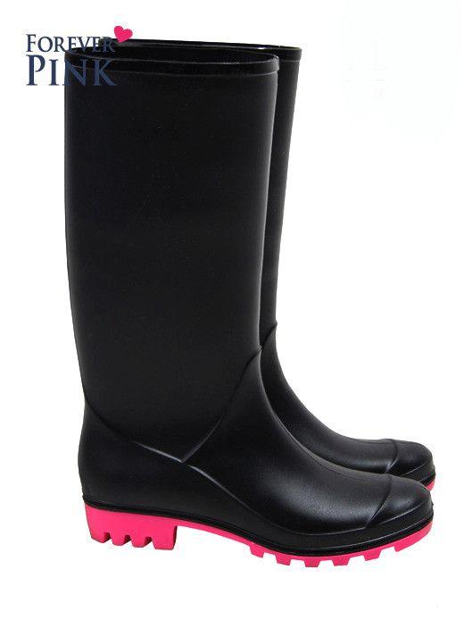 Czarne Kalosze Na Kontrastowej Traktorowej Podeszwie Rain Boots Boots Shoes