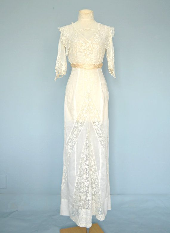 Vintage Edwardian Wedding Dress...Beautiful Semi Sheer Ivory Batiste ...
