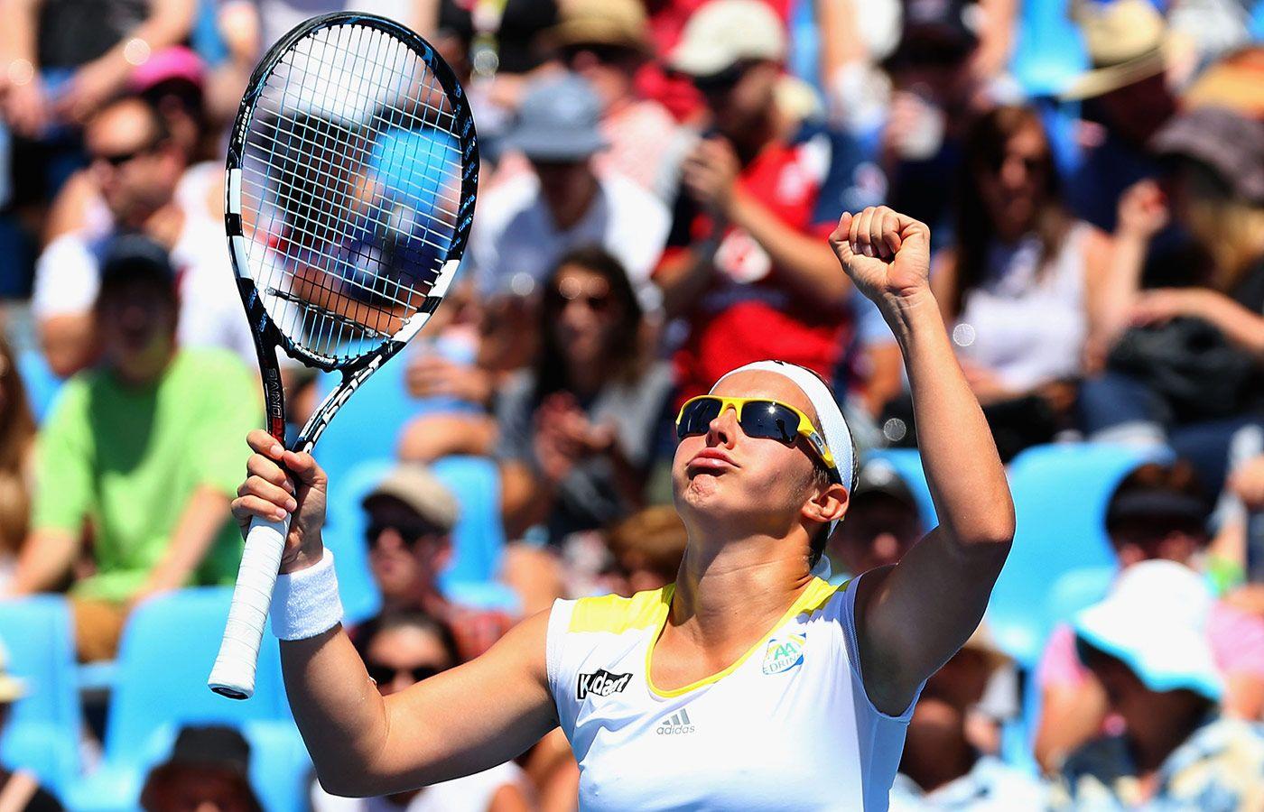 Kirsten Flipkens is blij na haar makkelijke overwinning in de tweede ronde van de Australian Open (2013)