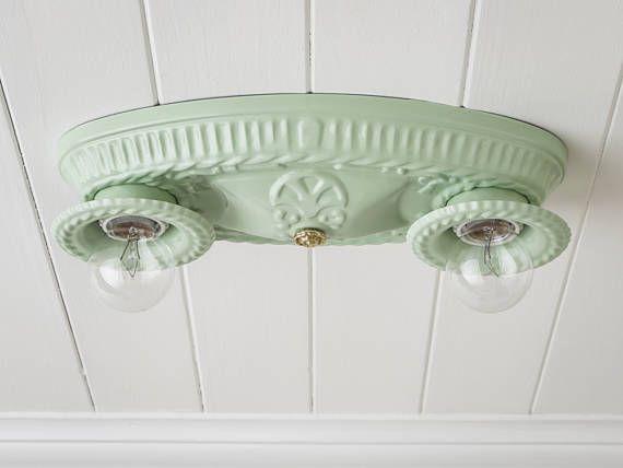 Rewired Vintage Flush Mount Ceiling Light Fixture Jadeite Mint Green A Flush Mount Ceiling Light Fixtures Light Fixtures Flush Mount Flush Mount Ceiling Lights
