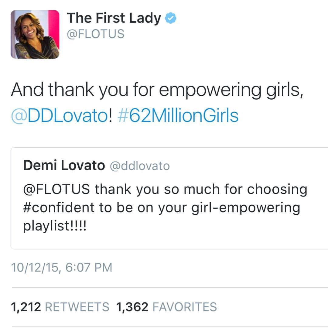 """Demi Lovato on Instagram: """"This is so cool. I love our First Lady ❤️ #62milliongirls #CONFIDENT"""""""