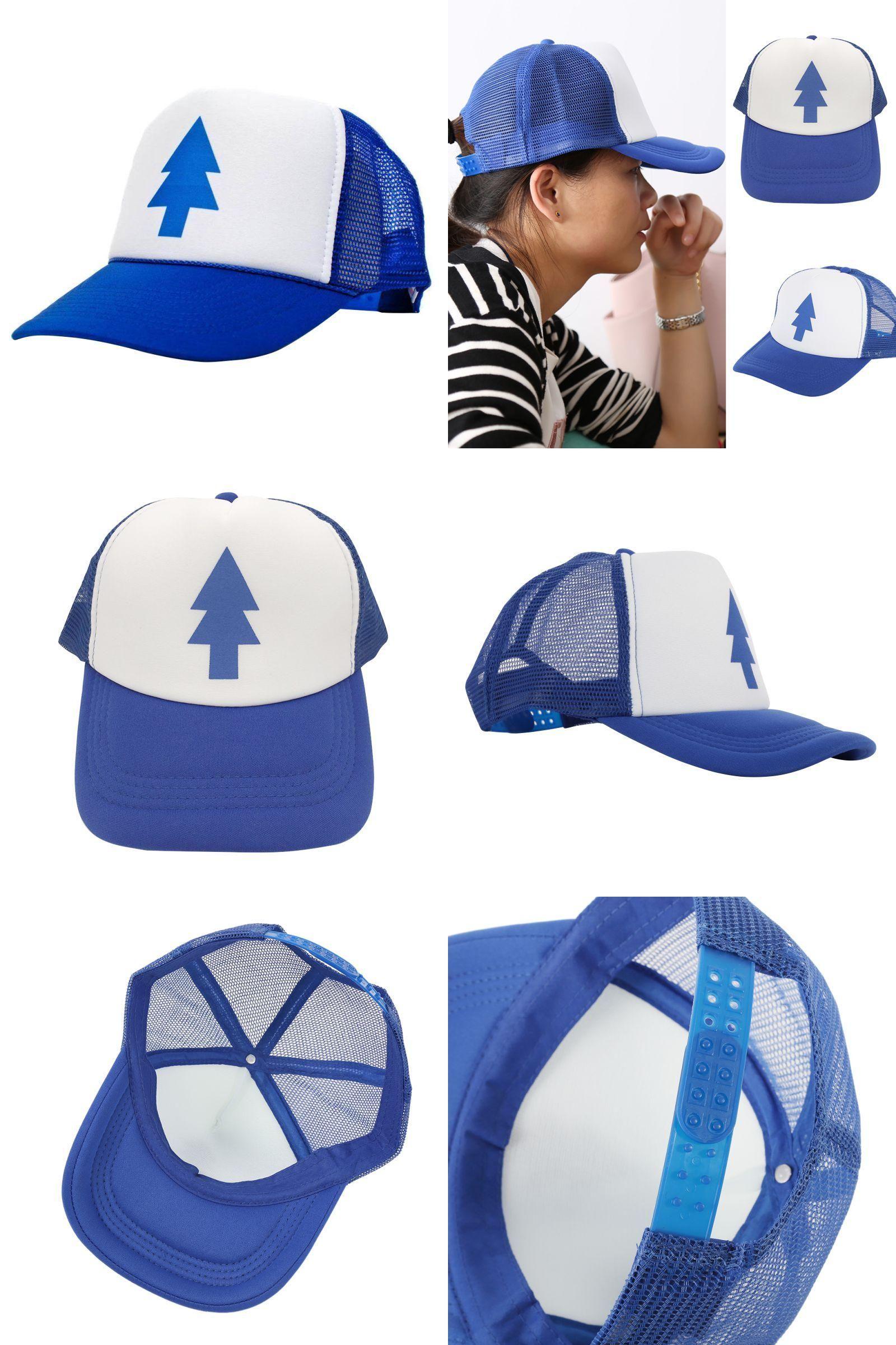 705540affdac4  Visit to Buy  Unisex Trucker Baseball hat Women Men Curved Bill BLUE PINE  TREE Dipper Gravity Falls Cartoon Mesh Hat Cap S1  Advertisement