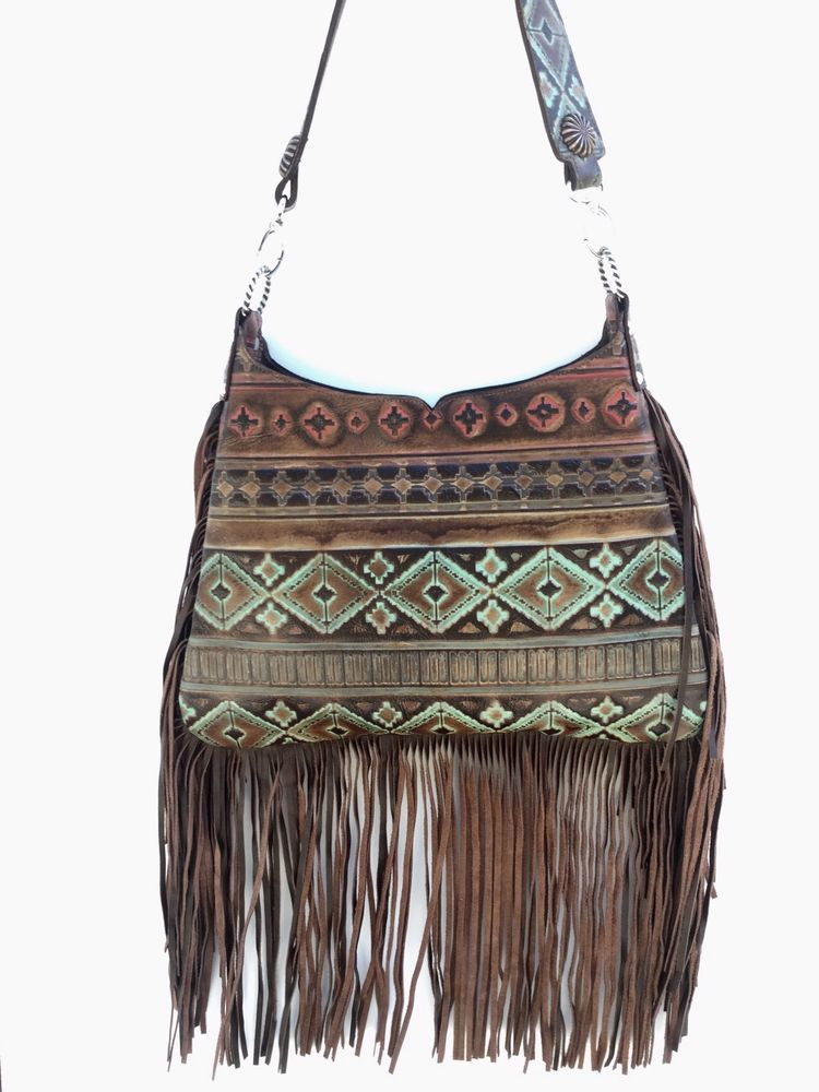 1bf95e1ce Western Distressed Turquoise & Navajo Aztec Leather Handbag Tote Purse  Fringe VR #VR #ShoulderBag