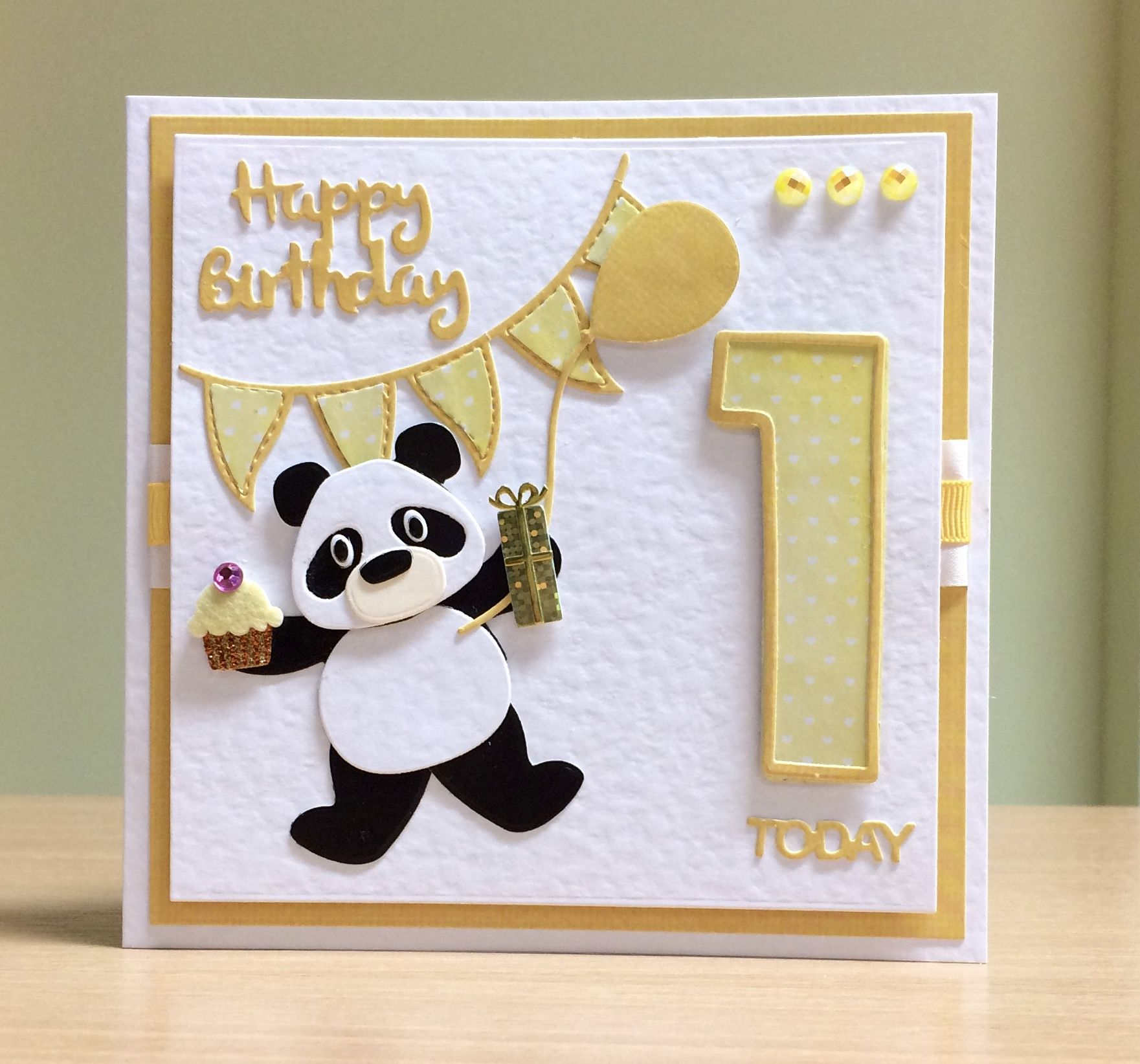 First Birthday Card Handmade Marianne Panda Die Tonic Number