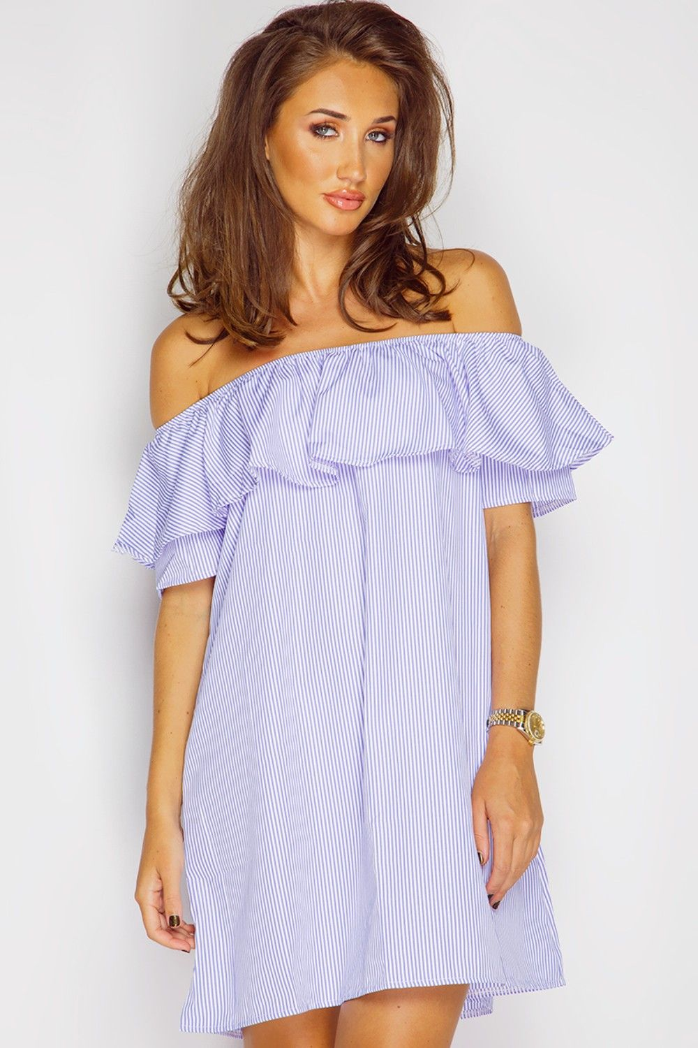 30a2566dbf9b Megan Mckenna Blue Pinstripe Bardot Summer Dress