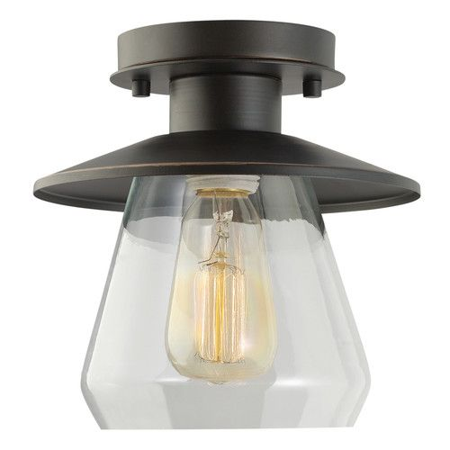 Globe electric 64846 1 light vintage semi flush mount ceiling light fixture oil rubbed bronze finish with clear glass shade
