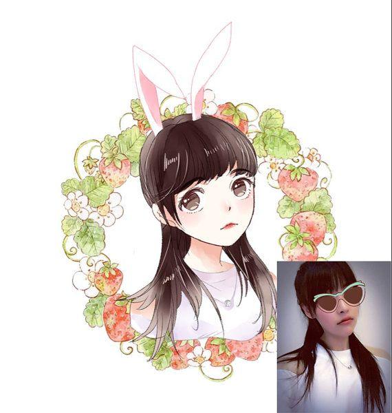 Custom Watercolor Digital Anime Portrait Cartoon Portrait