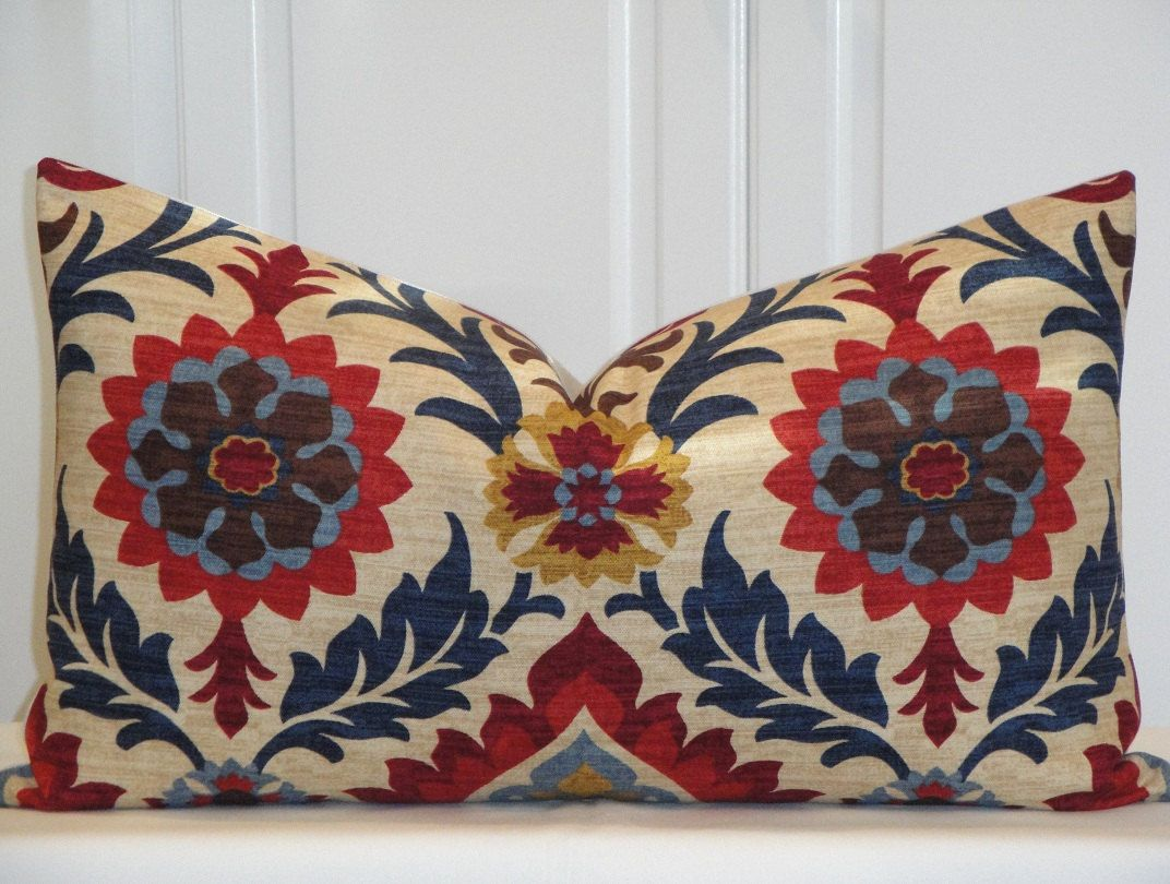 Navy Blue Decorative Pillow Covers : Decorative Pillow Cover - 14 x 24 - Suzani - Throw Pillow - Accent Pillow - Red - Navy blue ...