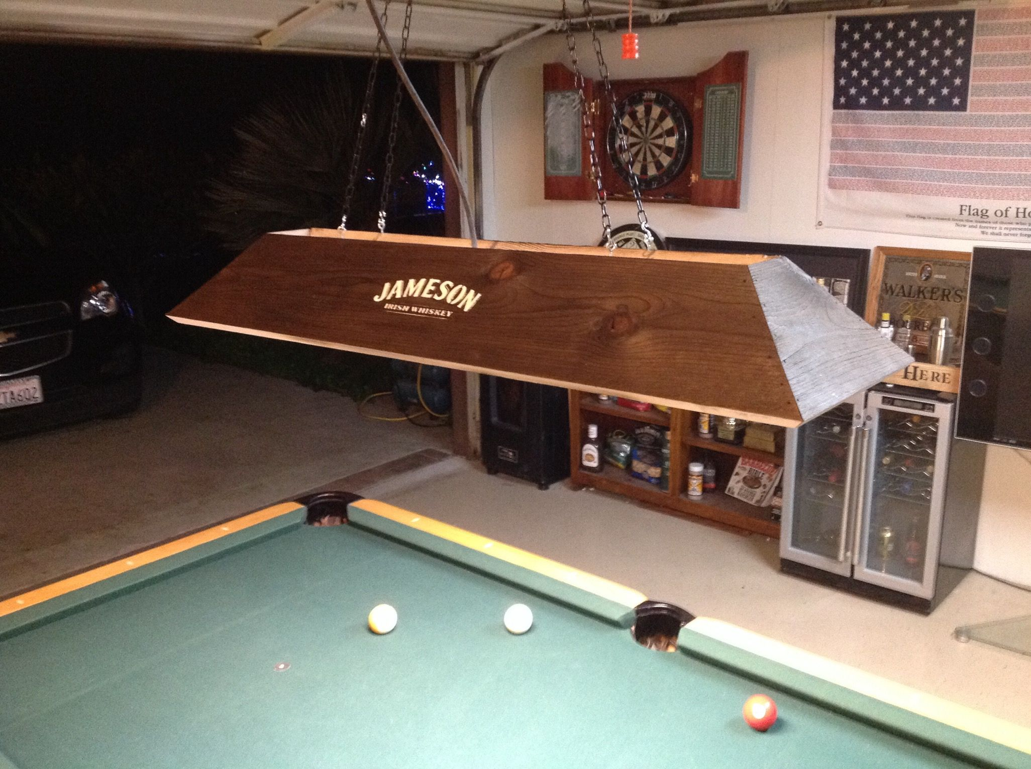 Pool Table Light Ideas man cave lights for above a pool table easy to do three whiskey bottles Jameson Irish Whiskey Pool Table Light