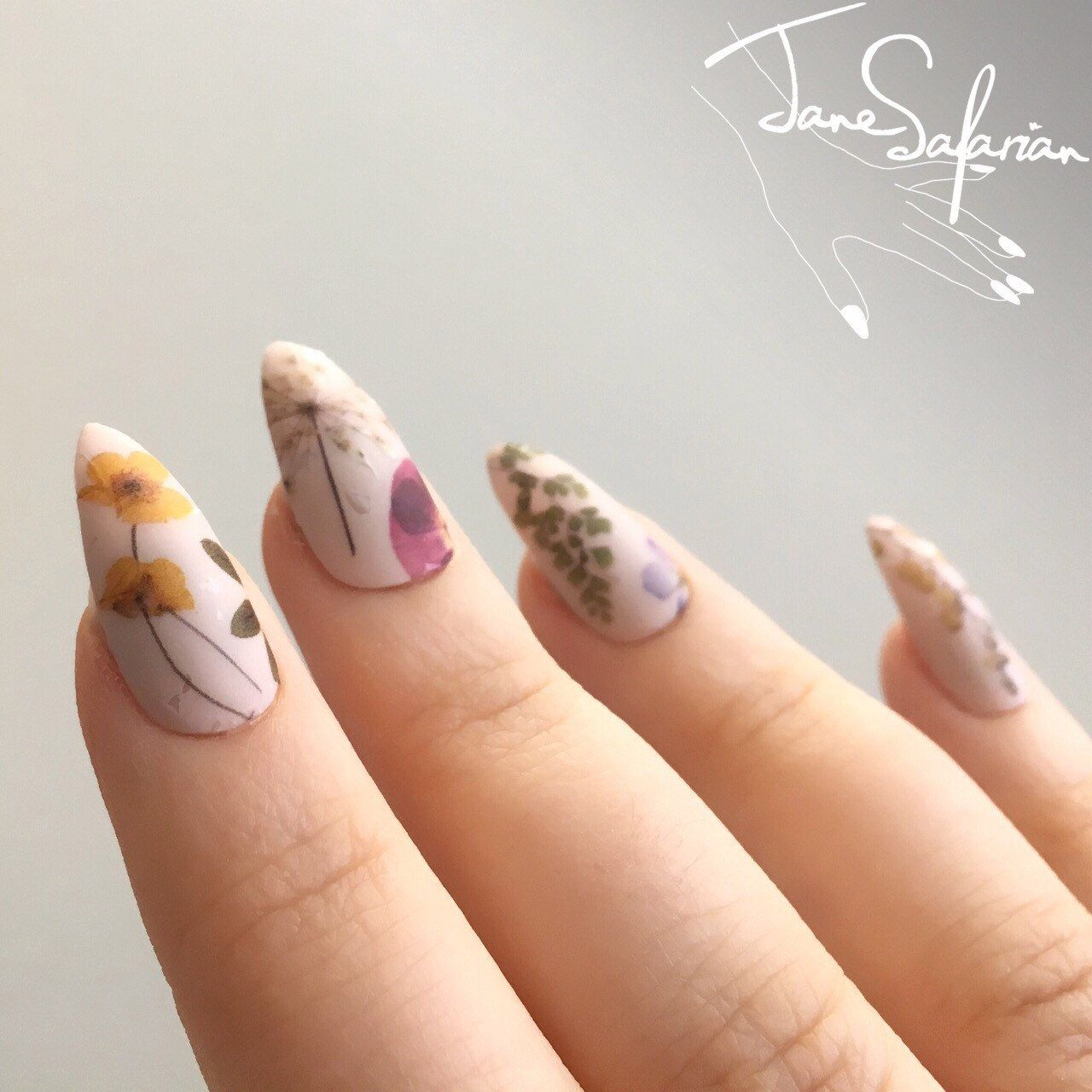 Pressed Dried Flowers Design Water Slide Nail Decals/Nail Tattoos ...