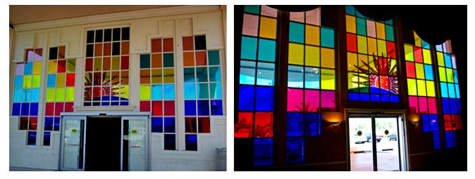 Front Colored Window Graphics, Window Color Glass Design