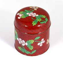 Red Cloisonne Jar with Pink Yellow Flowers Vintage Home Decor Chinese Art