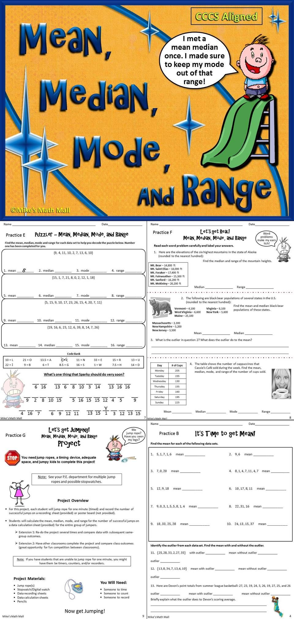 Mean Median Mode And Range Bundled Unit Distance Learning Middle School Math Teaching 6th Grade Basic Math [ 2016 x 960 Pixel ]