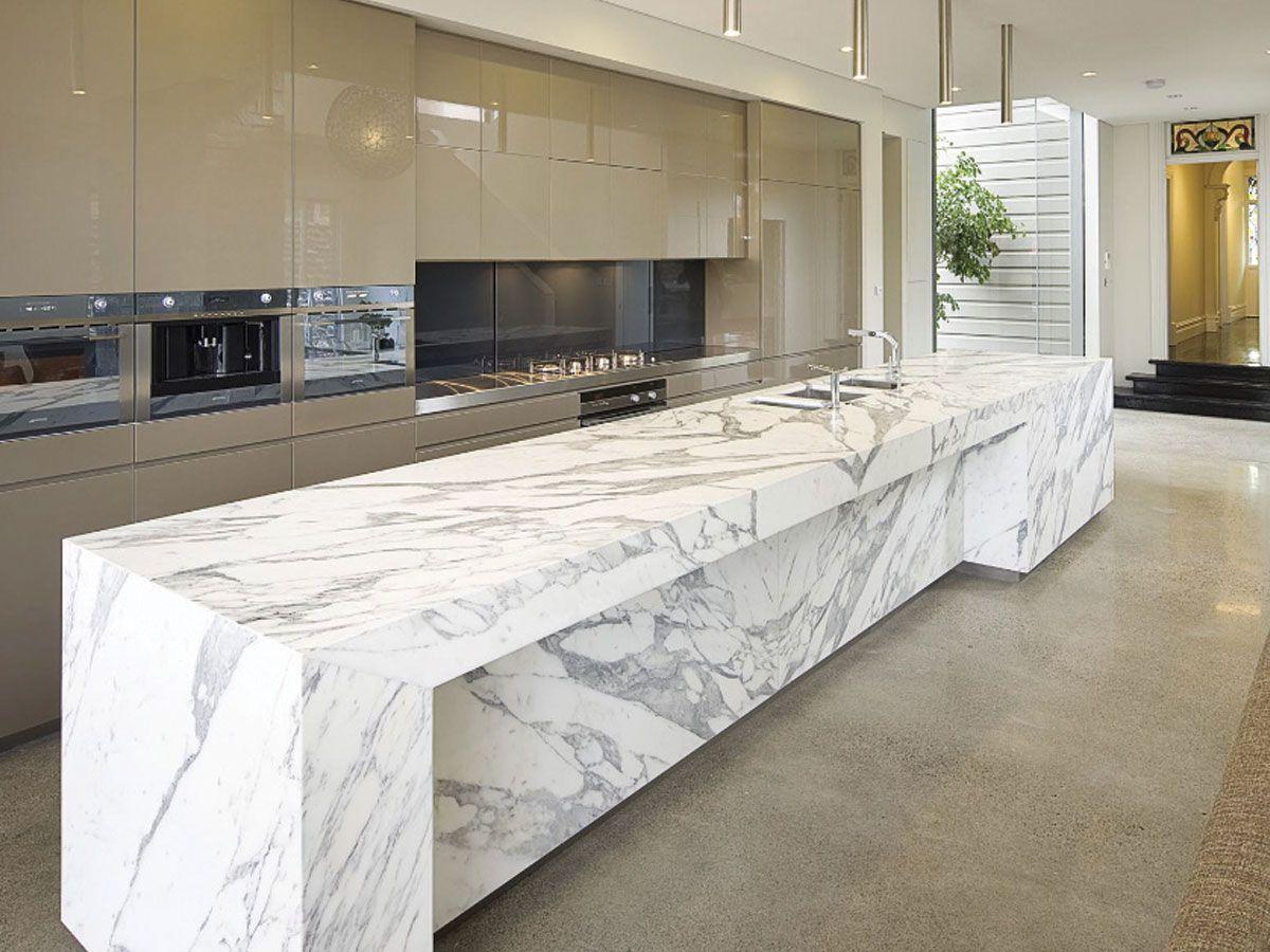 Interior Artsitic White Calacatta Marble Kitchen Island For Modern Kitchen Interior With Grey Marble Kitchen Island Marble Countertops Kitchen Kitchen Marble