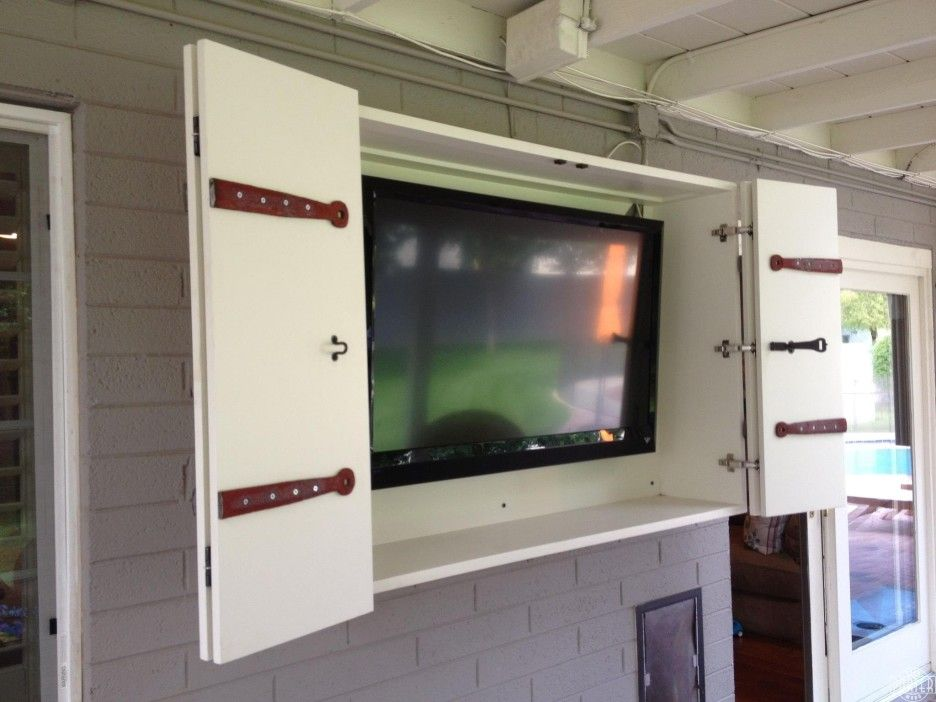 Exterior Out Door Wall Tv Cabinet With Bi Fold White Painted Wooden