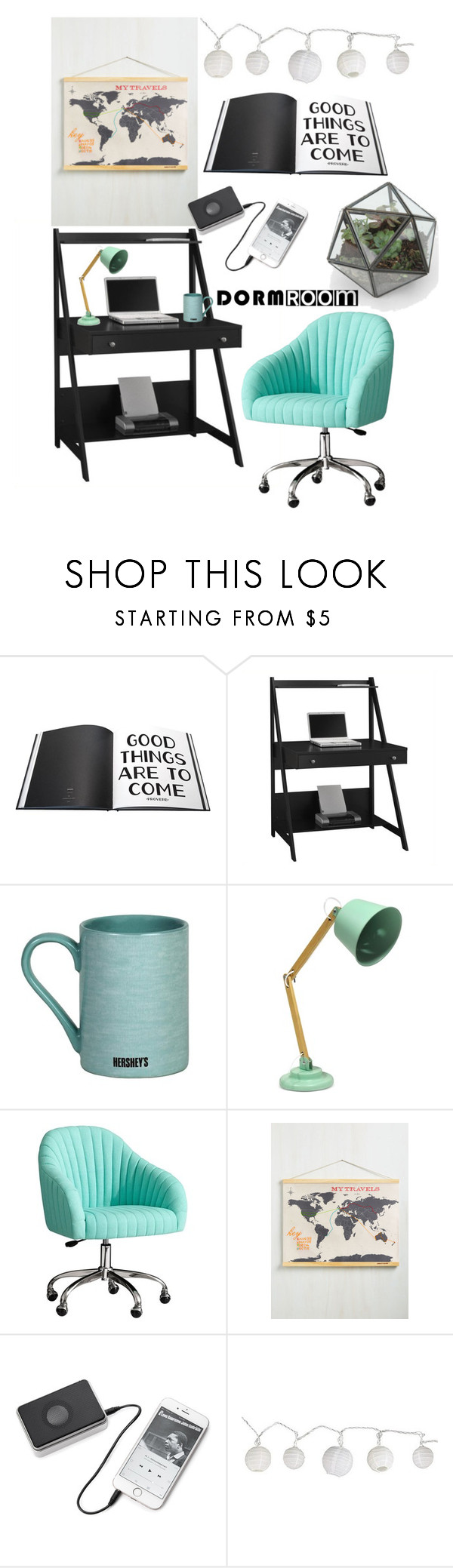 Dorm Room Style by shudenbaun on Polyvore featuring interior, interiors, interior design, дом, home decor, interior decorating, Bush Furniture, IdeaNuova, Fitz & Floyd and Luckies Of London
