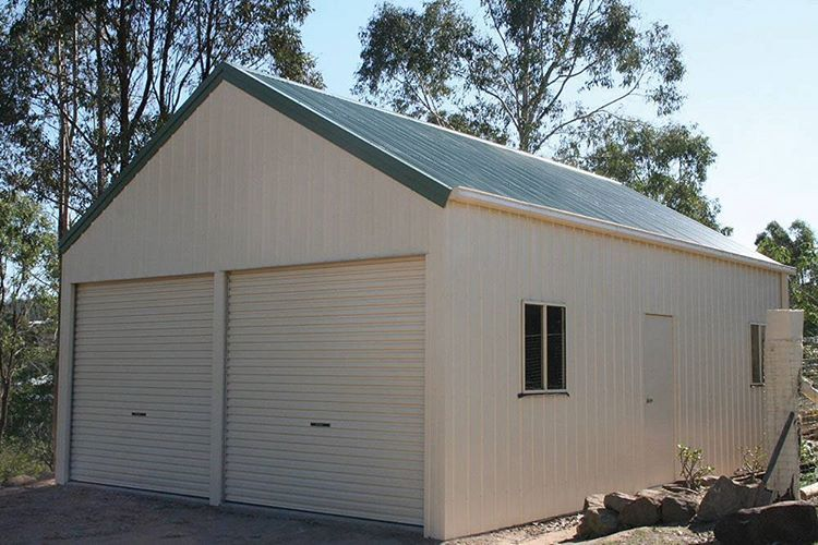 Double Garage With 30 Degree Roof Pitch 6m X 9m X 3m Genuine Colorbondsteel With Classic Cream Walls Doors Cottage Shed Double Garage Shed Building Plans