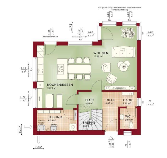 Grundriss Einfamilienhaus Edition 1 V4_Bien Zenker_Erdgeschoss - wohnzimmer offene küche