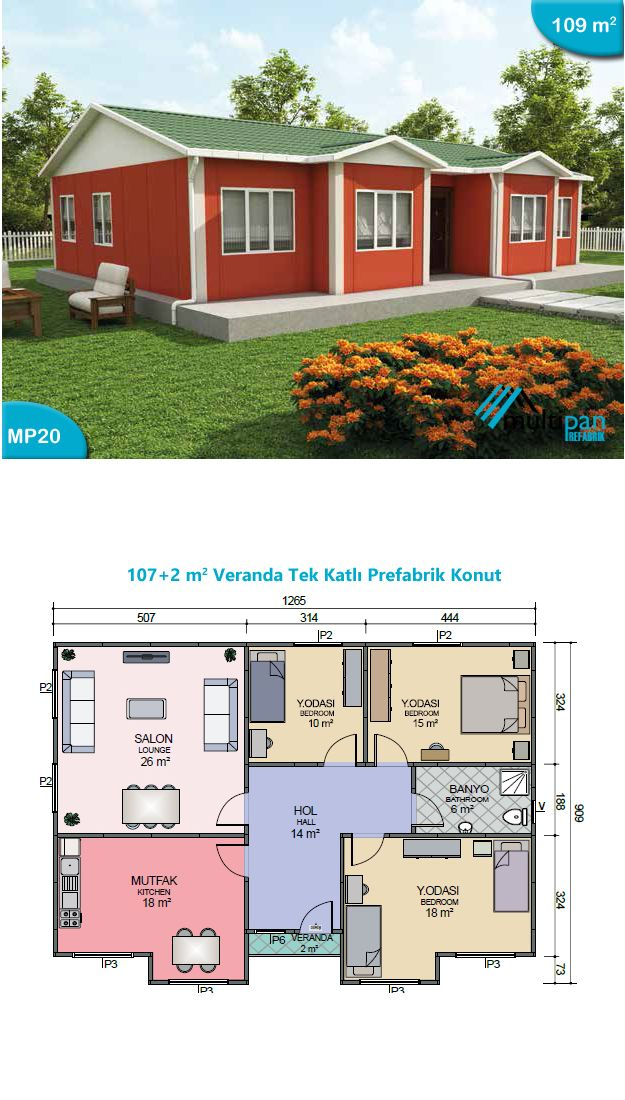 Mp20 107m2 2m2 3 bedrooms 1 bathroom separate for Two bedroom hall kitchen house plans