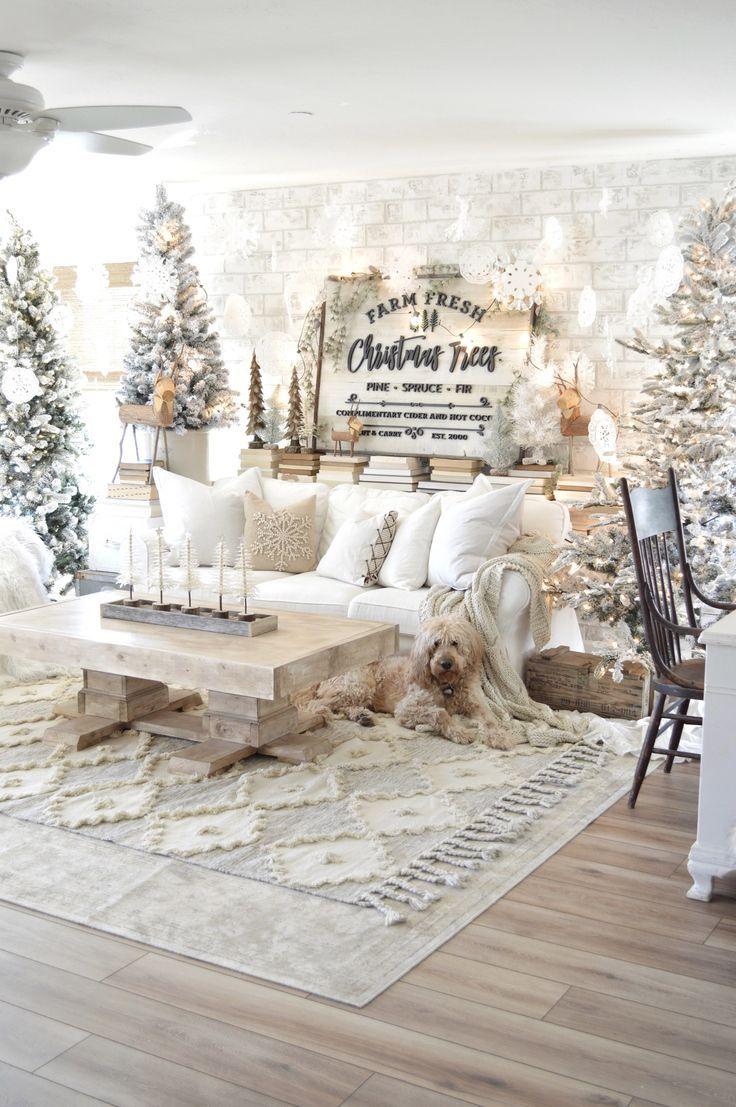 Neutral Farmhouse Style Christmas Decor