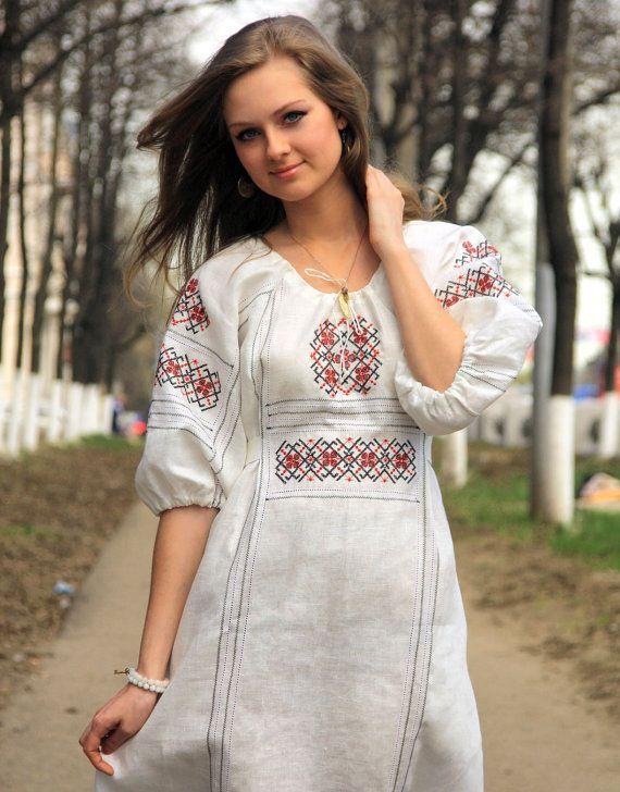Leinenkleid Russische Tracht Russische Kleidung Von