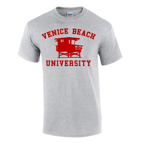 Consider the lifeguard tower your classroom! Our historic beach's most iconic landmark on a cotton short sleeve t-shirt.  Choose gray, white, or navy.