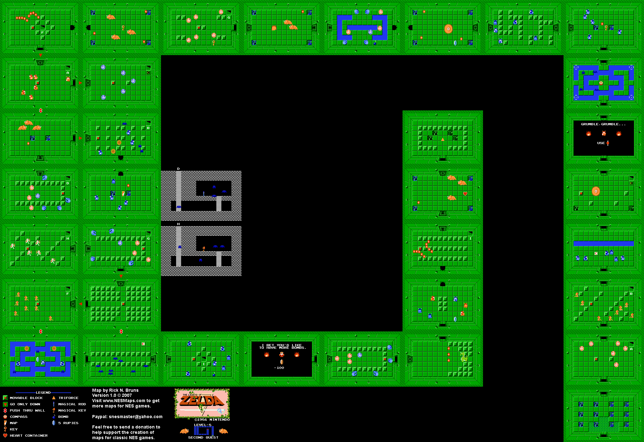 The Legend of Zelda - Level 8 Quest 2 - NES Map | ~ Gabe\'s Board ...