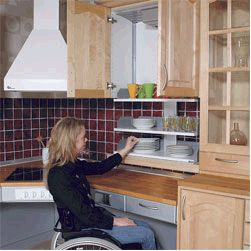 Drop Down Cabinet Shelves For Easy Access Accessible Kitchen Kitchen Remodel Kitchen Design