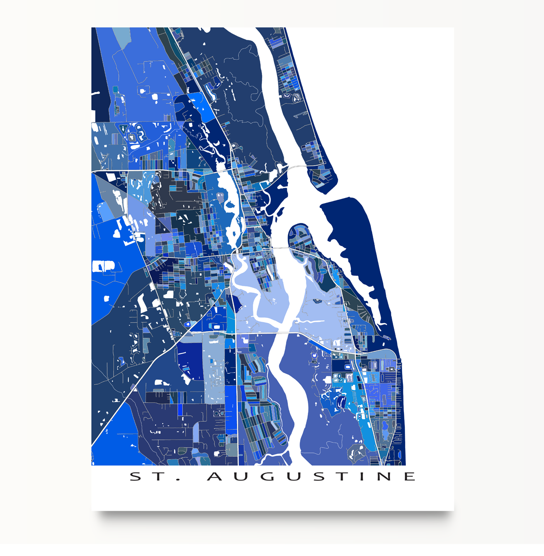 St Augustine Florida Map.St Augustine Map Print St Augustine Florida City Art Decor Usa