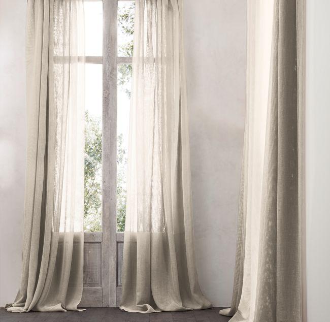 Open Weave Sheer Belgian Linen Drapery With Images Linen Drapery Sheer Linen Curtains Sheer Drapery