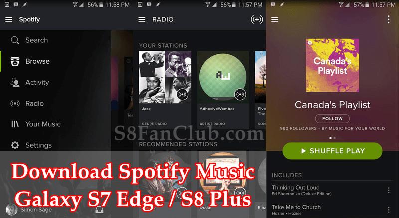 Download Spotify Music App for Samsung Galaxy S7 Edge / S8