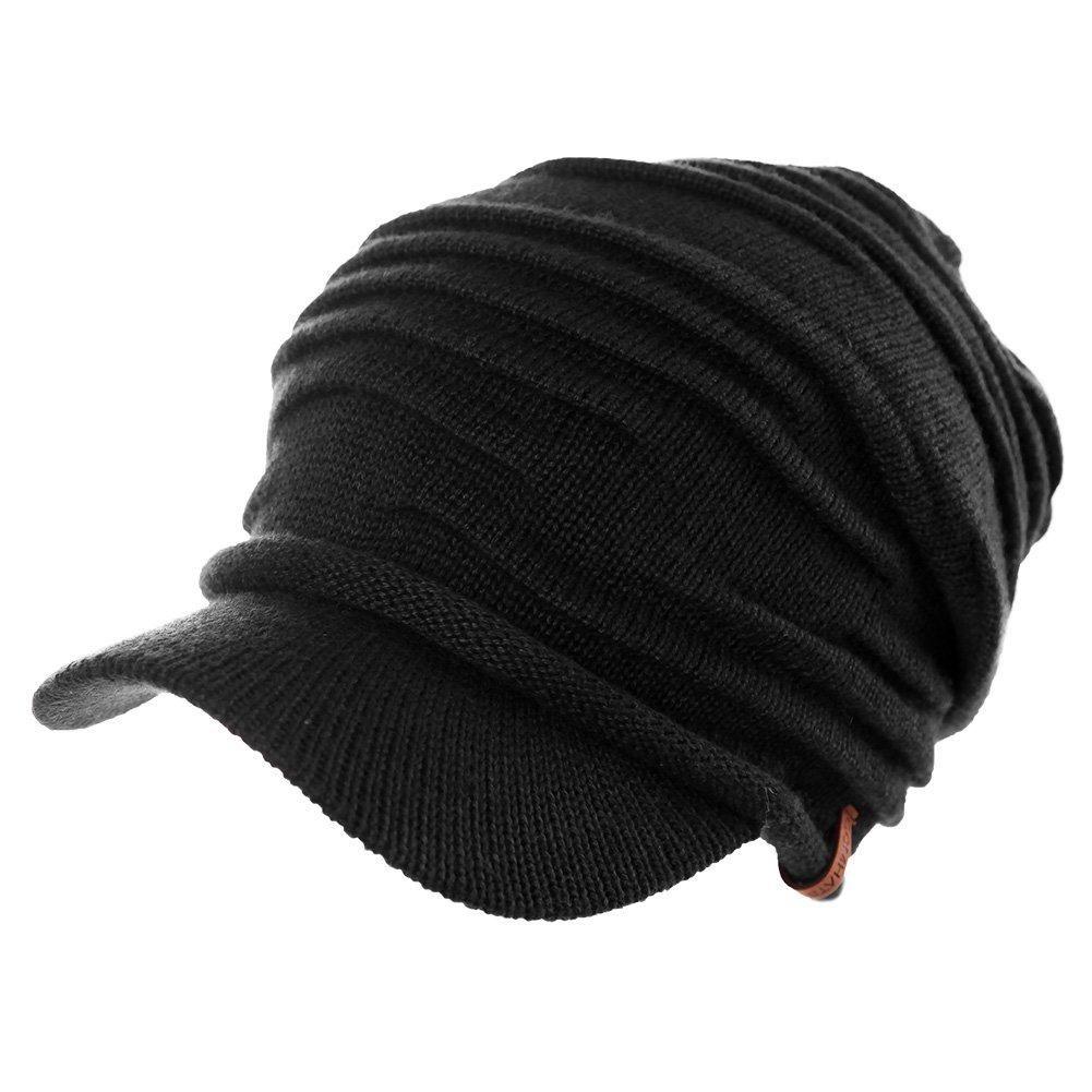 c271b001 SIGGI Wool Knit Visor Beanie Winter Hat Cuff Jeep Cap Lined Soft Warm Unisex